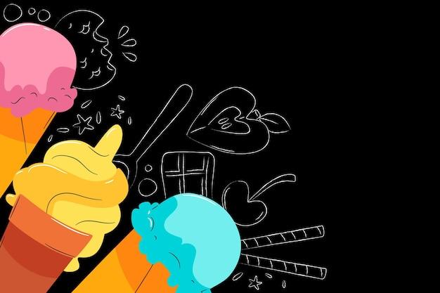 Hand gezeichneter hintergrund der eiscremetafel