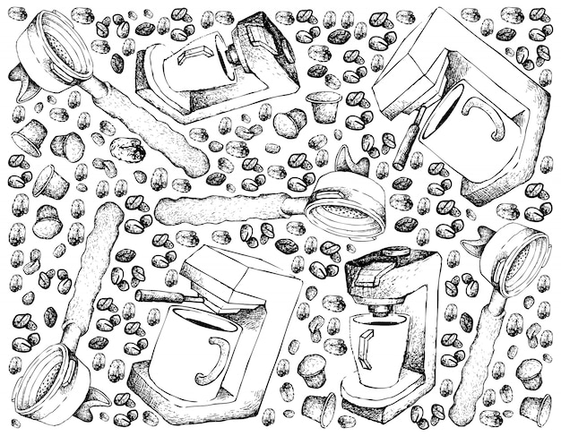 Hand gezeichneter hintergrund der espresso-kaffeemaschine