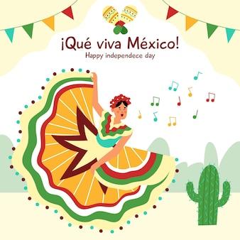 Hand gezeichneter hintergrund der independencia de méxico hand