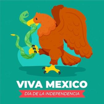 Hand gezeichneter hintergrund der independencia de méxico mit tieren