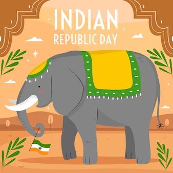 Hand gezeichneter hintergrund der indischen republik tages