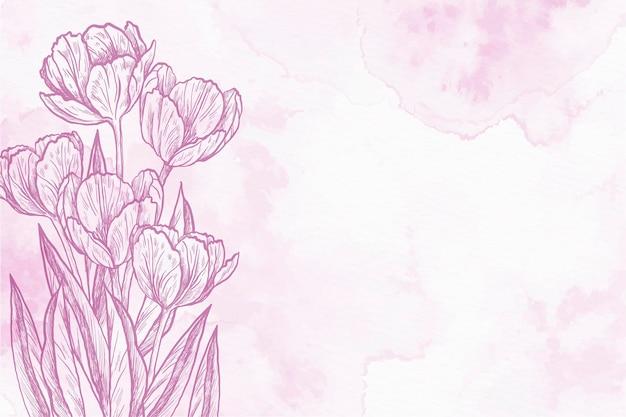Hand gezeichneter hintergrund der tulpenpulverpastellhand