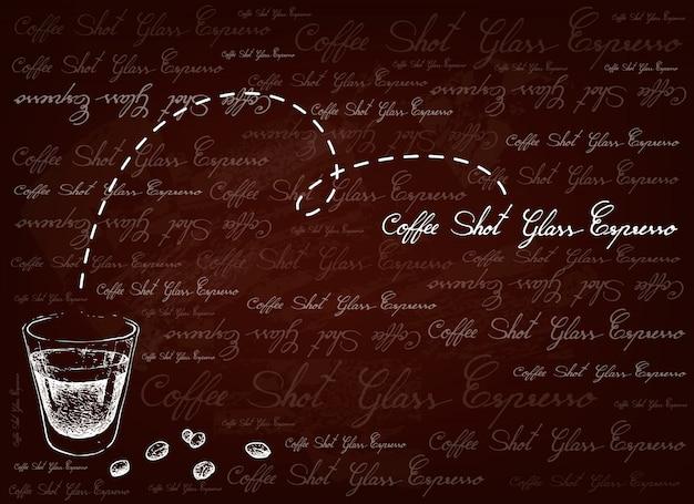 Hand gezeichneter hintergrund des einzelnen espressokaffees im schnapsglas