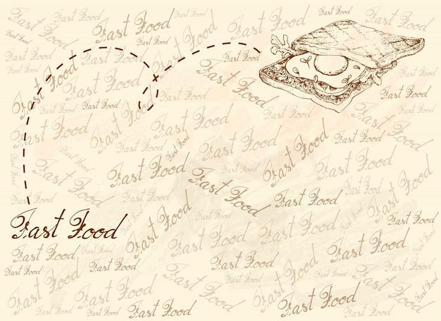 Hand gezeichneter hintergrund des frisch gerösteten sandwichs
