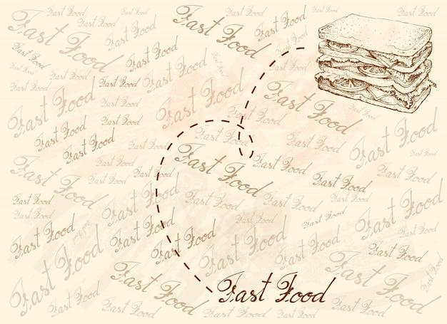 Hand gezeichneter hintergrund des frischen hausgemachten sandwichs