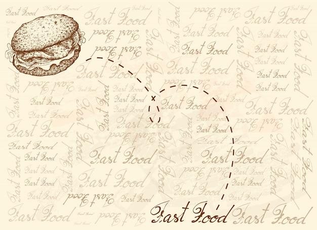Hand gezeichneter hintergrund des gegrillten zackenbarsch-sandwichs
