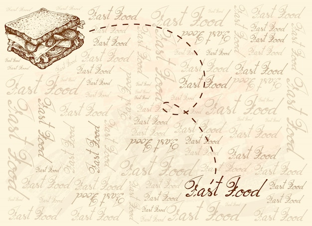 Hand gezeichneter hintergrund des hausgemachten schinkensandwiches