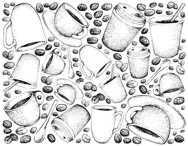 Hand gezeichneter hintergrund des heißen kaffees
