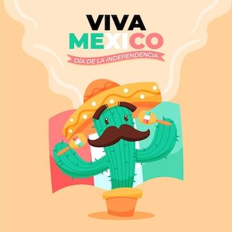 Hand gezeichneter hintergrund des independencia de méxico mit kaktus