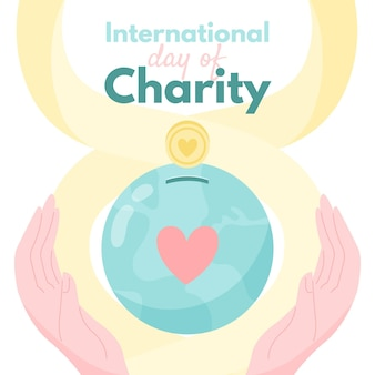 Hand gezeichneter hintergrund des internationalen tages der wohltätigkeit