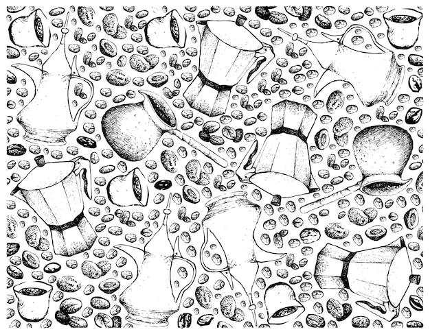 Hand gezeichneter hintergrund des kaffeetopfes mit kaffeebohnen