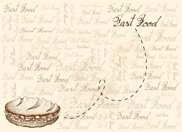 Hand gezeichneter hintergrund des köstlichen baguette-sandwichs