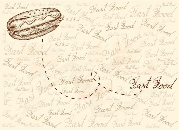 Hand gezeichneter hintergrund des köstlichen hotdogs