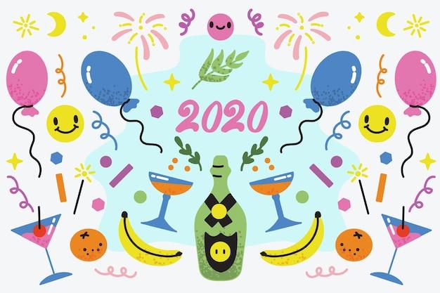 Hand gezeichneter hintergrund des neuen jahres 2020