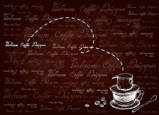 Hand gezeichneter hintergrund des vietnam-kaffeetropfers