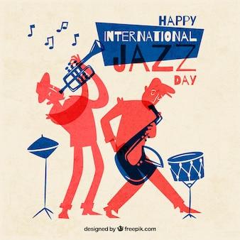 Hand gezeichneter hintergrund für den internationalen jazztag