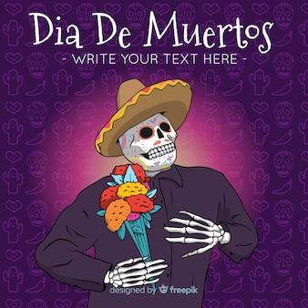 Hand gezeichneter hintergrund für día de muertos