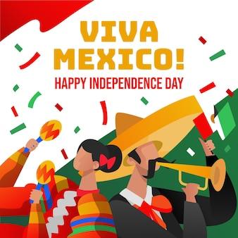Hand gezeichneter hintergrund independencia de mexiko