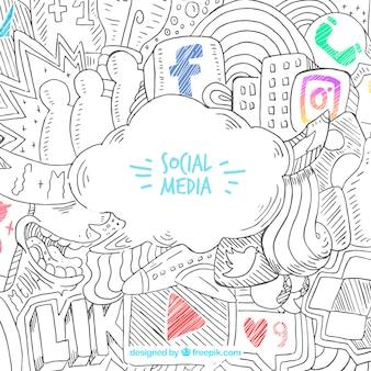 Hand gezeichneter hintergrund mit social media-ikonen