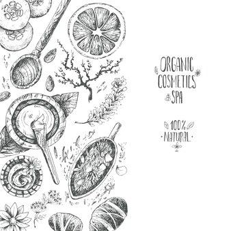 Hand gezeichneter hintergrund, organische produkte