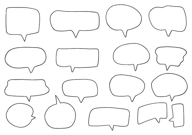 Hand gezeichneter hintergrund satz nette sprechblase im doodle-stil