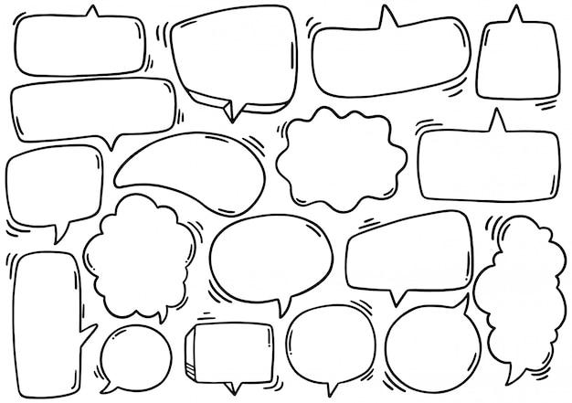 Hand gezeichneter hintergrund satz niedliche sprechblase eith text im gekritzelstil