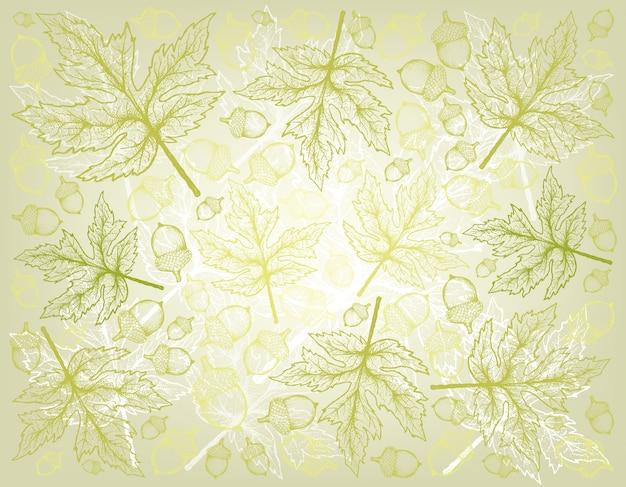 Hand gezeichneter hintergrund von autumn maple leaves und von eichen-nüssen