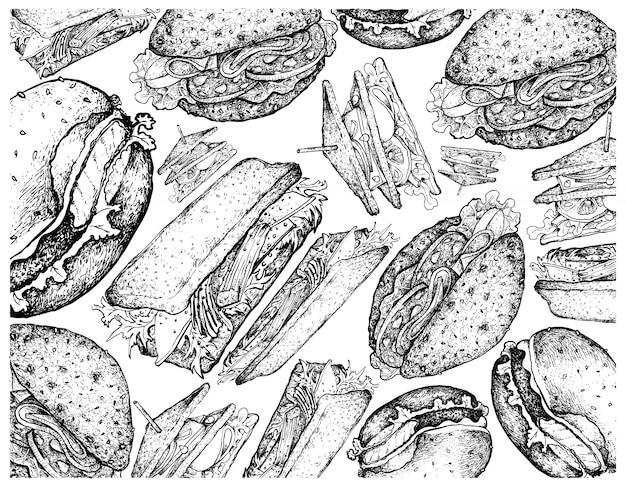 Hand gezeichneter hintergrund von hamburgern und von sandwiches