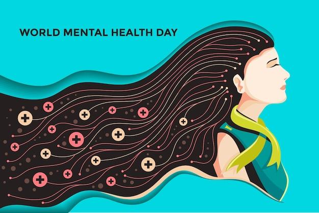 Hand gezeichneter hintergrundwelttag der psychischen gesundheit
