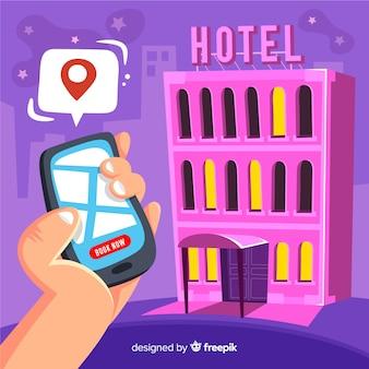 Hand gezeichneter hotelbuchungs-konzepthintergrund