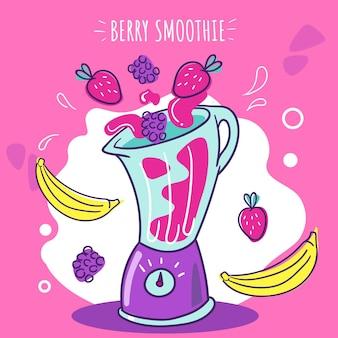 Hand gezeichneter illustrations-smoothie im mixerglas