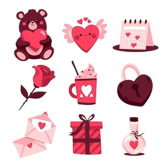 Hand gezeichneter illustrations-valentinstagselementsatz