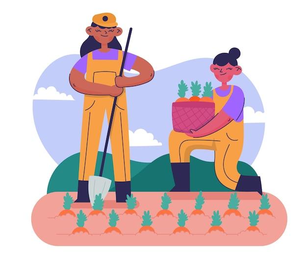 Hand gezeichneter illustrationsbauernberuf