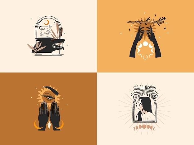 Hand gezeichneter illustrationssatz, magische linienkunst der mondphase und des sterns
