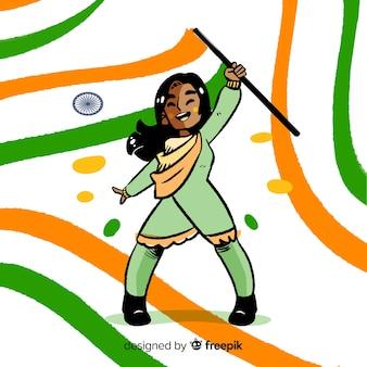 Hand gezeichneter indien-unabhängigkeitstaghintergrund