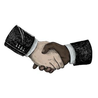 Hand gezeichneter internationaler geschäftshändedruck