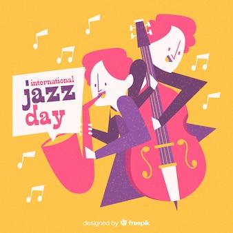 Hand gezeichneter internationaler jazztageshintergrund