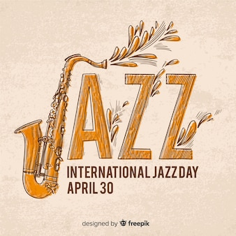Hand gezeichneter internationaler jazztageshintergrund