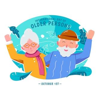 Hand gezeichneter internationaler tag älterer menschen