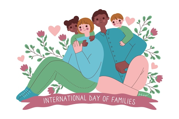 Hand gezeichneter internationaler tag der familienillustration