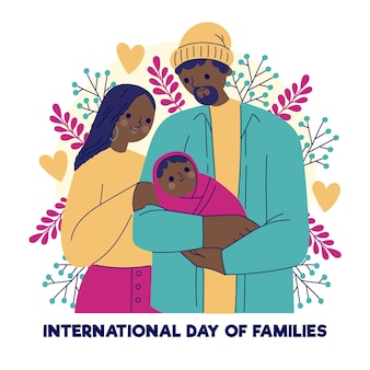 Hand gezeichneter internationaler tag der familienillustration