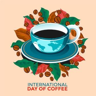 Hand gezeichneter internationaler tag der kaffeeillustration