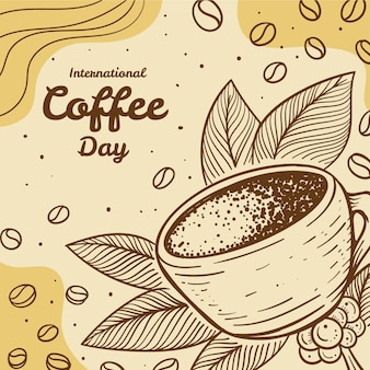 Hand gezeichneter internationaler tag der kaffeeillustration
