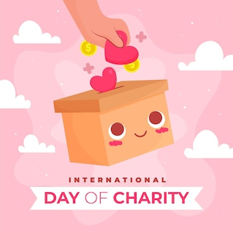 Hand gezeichneter internationaler tag der wohltätigkeitsveranstaltung