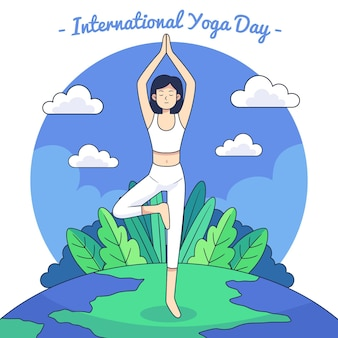 Hand gezeichneter internationaler tag der yogaillustration
