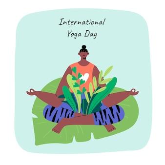 Hand gezeichneter internationaler tag der yogaillustration
