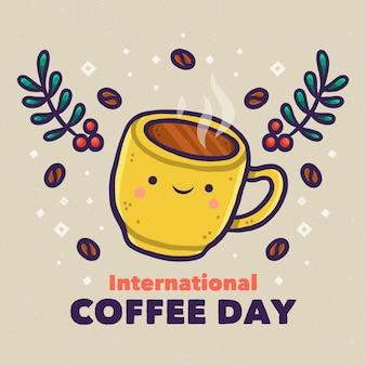 Hand gezeichneter internationaler tag des kaffees mit der niedlichen tasse