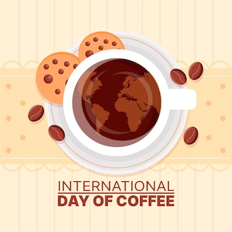 Hand gezeichneter internationaler tag des kaffees