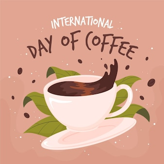 Hand gezeichneter internationaler tag des kaffees