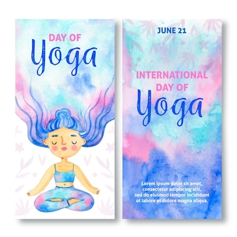 Hand gezeichneter internationaler tag des vertikalen yoga-banners